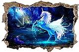 Blaues Einhorn Fantasy Fabelwesen Wandtattoo