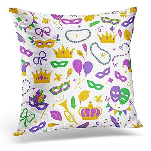 Niet geschikt kussenslopen, carnaval met ballon carnavalmasker confetti fleur de Lis trompet kroon Comödie en traodie band zachte comfortabele kussenslopen voor volwassenen comfort reizen