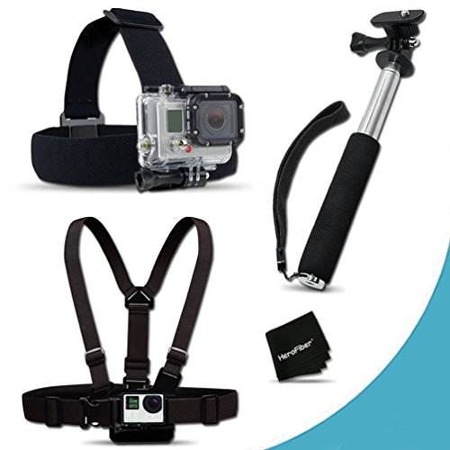 Xtech Replacement GoPro Head Strap mount Kit for GoPro HERO4 Hero 4, GoPro Hero3+, GoPro Hero3, GoPro Hero2, GoPro HD Motorsports HERO, GoPro Surf Hero, GoPro Hero Naked, GoPro Hero 960, GoPro Hero HD 1080p, GoPro Hero2 Outdoor Edition Digital Cameras + Chest Strap Mount + Hand Held Extendable Monopod