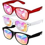 3 Stücke Feste Kaleidoskop Regenbogen Sonnenbrille, Prism Sonnenbrille Schutzbrille Kristall Linsen...