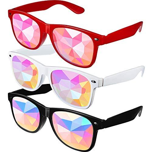 3 Stücke Feste Kaleidoskop Regenbogen Sonnenbrille, Prism Sonnenbrille Schutzbrille Kristall Linsen Rave Feste Party EDM Sonnenbrille