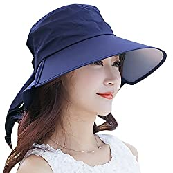 QBSM Womens Large Brimmed Foldable Outdoor Summer Beach Sun Protection Hat da1349c5eff
