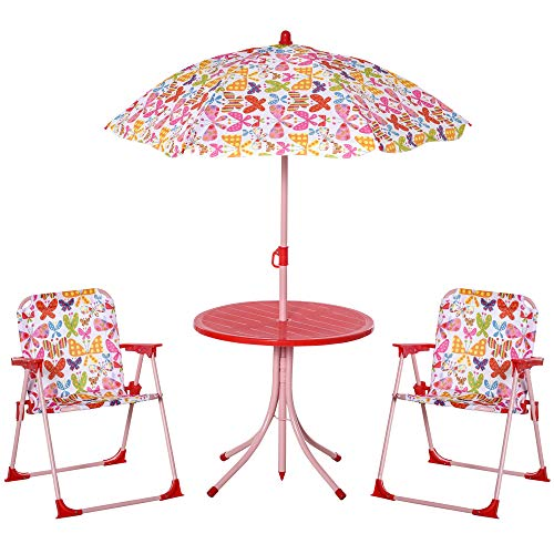 Outsunny Kids Outdoor Bistro Table and Chair Set Butterfly Pattern Garden Patio Backyard with Removable & Height Adjustable Parasol