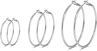 3 Pairs Sterling Silver Hoop Earrings - 14k White Gold Plated Hoop Earrings Big Hoop Earrings Set Silver Hoop Earrings for Women Girls (40MM 50MM 60MM)