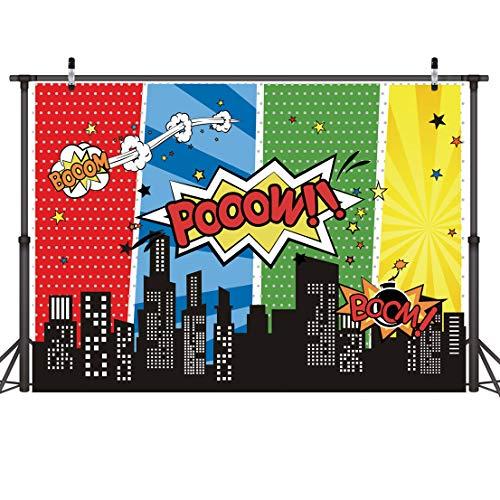 LYWYGG 7x5FT Superhero Birthday Photo Telón de Fondo Paisaje Urbano Fondos de Dibujos Animados Superhero Party Supplies Decoraciones Superhéroes Decoraciones de Pared para Niños o Niñas CP-229
