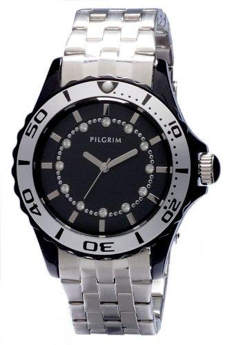 Pilgrim Damen-Armbanduhr Versilbert Schwarz Analog Quarz 780-321