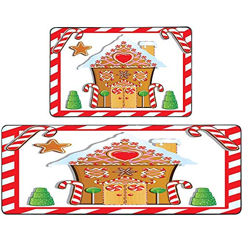 Teepel Christmas Kitchen Rugs 2 Piece Non-Slip Kitchen Rug Cute Gingerbread House Trees Candy Cane Frame Kitchen Rug Set 17'X48'+17'X24' for Home Kitchen