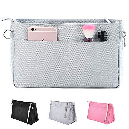 SHINGONE Nylon Bag in Bag Handtaschen Organizer, Reise Kosmetik Tasche Taschenorganizer Mit Reißverschluss, Innentaschen für Handtaschen Grau- Klein