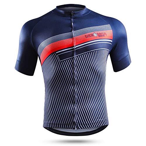 NEENCA Herren Radtrikot Fahrradtrikot Kurzarm Sport T- Shirt Schnelltrockendes Atmungsaktives Elastisches Radshirts mit DREI Rückentaschen und Reißverschluss aus Polyester