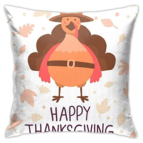 Thanksgiving Pillow Covers Thanksgiving with Orange Turkey Bird in Brow Square Pillowcase Cushion 45X45CM