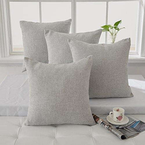 Deconovo Set da 4 Fodere per Cuscini Quadrate Decorative per Divano di Casa e Soggiorno 40x40 CM Grigio Chiaro