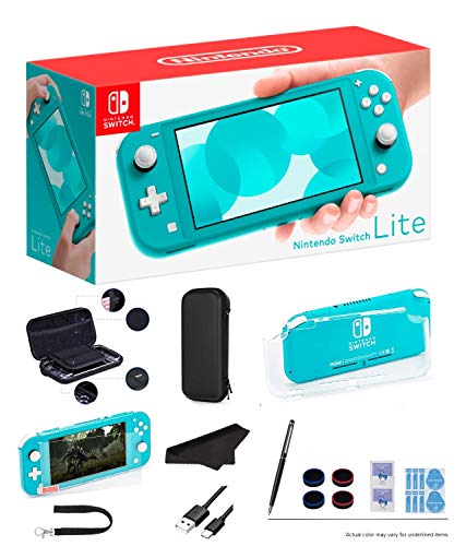 "Newest Nintendo Switch Lite - Turquoise Game Console, 5.5"" LCD Touch 1280x720 Screen, Built-in +Control Pad, WiFi, Bluetooth with GalliumPi 10-in-1 Bundle"