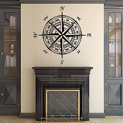 Kinderkamer Nautisch kompas Decal Vinyl Muursticker Huisdecoratie Verwijderbaar Kompas Behang 57x57cm Rood