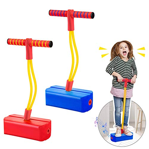 2 Pack Foam Pogo Stick Bungee Jumper for Kids Outdoor Toys, Foam Bouncing Toy for Kids Age 3 and up, Squeaky Sounds Pogo Sticks Supports up to 250lbs (Blue&Red)