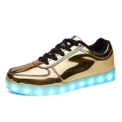 SANYES USB Charging Light Up Shoes Sports LED Shoes Dancing Sneakers SYDB551-Gold-37