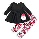 SEVEN YOUNG Christmas Outfits Kids Toddler Baby Girls Xmas Dress Shirt+Santa Print Pants Sets Fall Clothes (Santa, 4-5 Years)