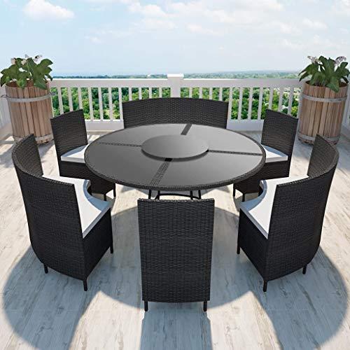 UnfadeMemory Conjunto Mesa y Sillas Jardin con Cojines,Mesa Redonda+3 Bancos+3 Sillas,Muebles de Jardín Terraza Balcón o Patio,Ratán Sintético (Negro)
