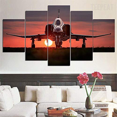 Cuadro Sobre Impresión Lienzo 5 Piezas Avión militar F-4 Phantom Ii Cuadro En Lienzo 5 Pieza Impresión Lienzo Artística Pintura Diseño Cuadro Moderno Pared Gráfica