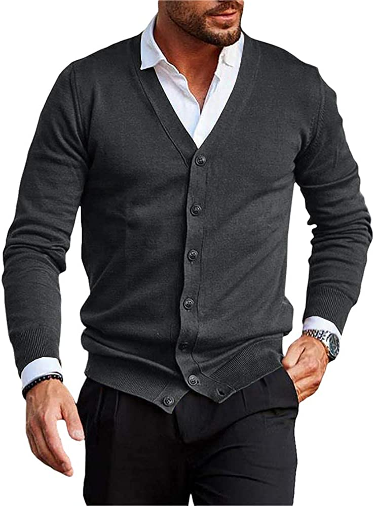 Mens Casual Cheap Cardigan Fees free!! Cable Knitted Cotton Button Re Sweater Down
