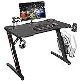 Flamaker Gaming Desk 44 Inch Gaming Table Computer Desk Gamer Table Z Shape Game Station with Large Carbon Fiber Surface, Cup Holder & Headphone (Black)