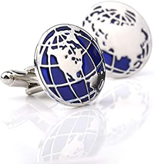 MINGHUA Blue Globe World Map Earth Cufflinks for Men Boys