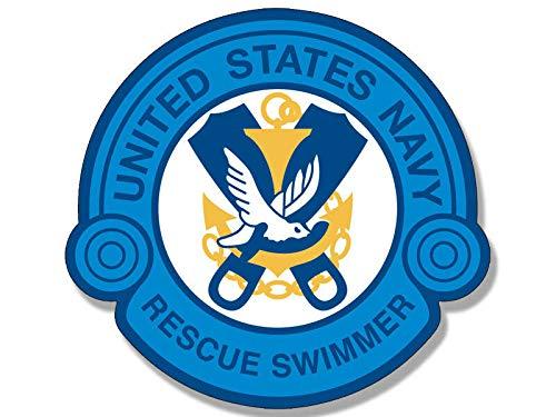 Magnet 4x4 inch Blue Rescue Swimmer Logo Shaped Sticker - us Navy Naval air Swim Scuba Magnetic Magnet Vinyl Sticker