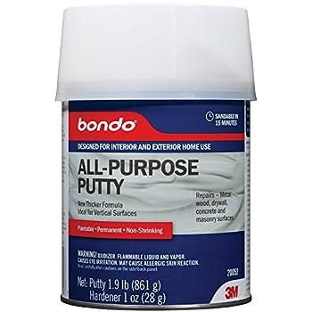 Bondo All-Purpose Putty Designed for Interior and Exterior Home Use Paintable Permanent Non-Shrinking 1.9 lb 1-Quart