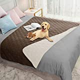 Ameritex Waterproof Dog Blanket for Bed Couch Sofa (52x82 Inches, Chocolate+Beige)
