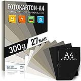 Tonos grises y negros TABLERO FOTOGRÁFICO A4 300g / m² - PAPEL PREMIUM - 21 x 29,7 cm - teñido oscuro sin imprimir para fotografía, presentaciones, manualidades, álbumes de recortes, cartón