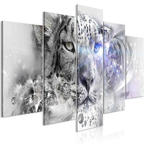 murando Cuadro en Lienzo Animales 200x100 cm 5 Partes Impresión en Material Tejido no Tejido Impresión Artística Imagen Gráfica Decoracion de Pared - Leopard Abstracto Diamante Gris g-C-0261-b-m