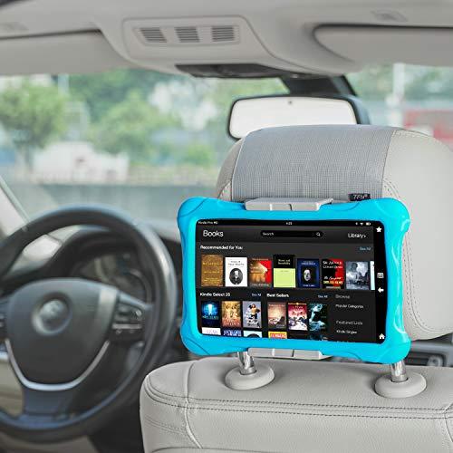 TFY - Soporte de coche para reposacabezas de coche para teléfonos y tabletas, compatible con dispositivos de pantalla de 5 a 10,5 pulgadas, color gris