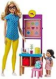 Barbie FJB29 - Muñeca profesora con juego de pizarra giratoria