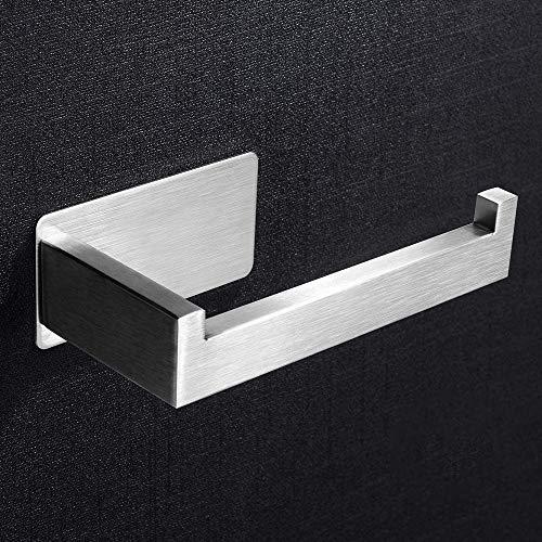 Self Adhesive Toilet Paper Holder, Stainless Steel Wall Moun Toilet Roll Holder Towel Hanger for Bathroom Kitchen