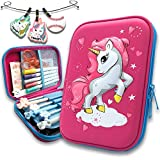 3D Embossed Pencil Case for Girls Pen Pouch for Kids Zipper Closure Crayon Organizer Box Unicorn Blue