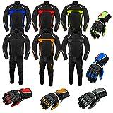 Tuta da moto con guanti corazzati, tuta da moto in 2 pezzi, impermeabile, con giacca, pantaloni e guanti, tuta di protezione omologata CE, per tutte le condizioni climatiche, da uomo
