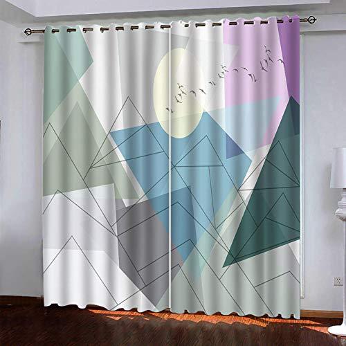 AYMAYM Cortina Opaca térmica Aislante Blackout para salón Dormitorio y habitación Personalidad Creatividad geometría Impresiones. Reducción de Ruido con 7 Ojales Acción de Graci