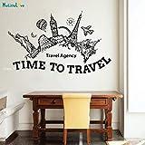 ASFGA Agencia de Viajes Sala Verano Vacaciones Aventura Viaje Etiqueta de la Pared decoración Familiar Sala de Estar Tiempo de Viaje niños mapa116x70cm