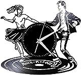 wttian Reloj de Pared con Disco de Vinilo Mudo diseño novedoso Rock Roller Jazz Hall Novia Chica Dormitorio decoración Pareja Juego de Baile