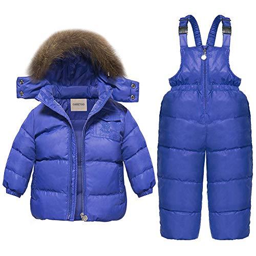 CARETOO Conjunto de ropa de abrigo de invierno para niños y niñas, 2 piezas de ropa con capucha, chaqueta de esquí y pantalones, Azul / Patchwork, 2-3T