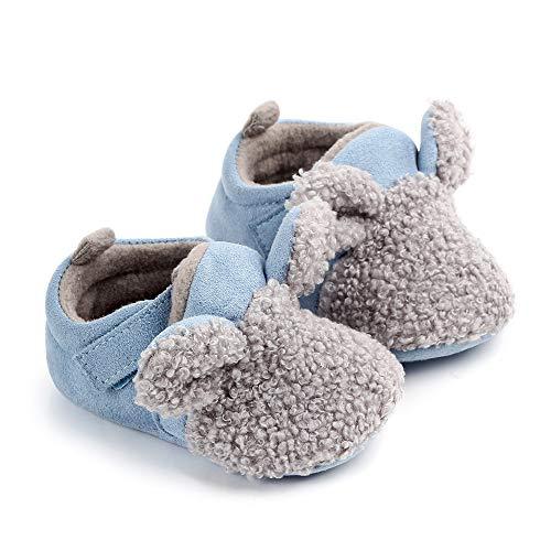 Baby Winter Warme Babyschuhe Mädchen Jungen Säuglinge Neugeborene Anti-Rutsch Kleinkind Hausschuhe Gemütliche Lauflernschuhe Weihnachten Stiefel für kleine Kinder, Blau - blau - Größe: 12-18 Monate