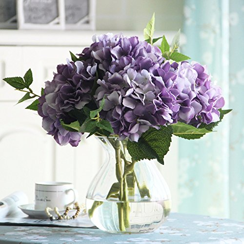 VanMe Vase en Verre Transparent Faux Salon Fleurs en Soie Décoration Table Mobilier Table Bouquet de Simulation, B