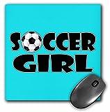 3D Rose'Soccer Girl Black and Aqua Blue' Matte Finish Mouse Pad - 8 x 8' - mp_181850_1