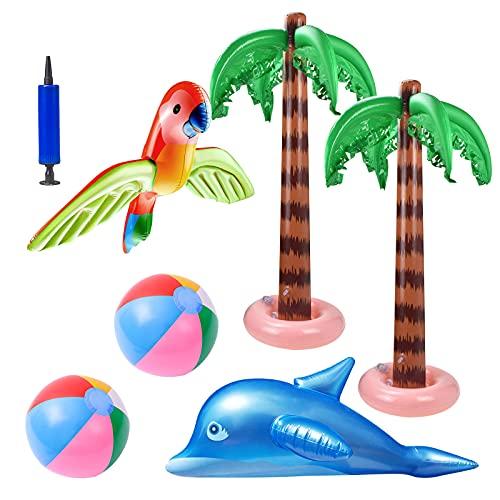 6 pz di palme gonfiabili con pompa ad aria giocattoli fenicottero per bambini palloni da spiaggia gonfiabili pappagalli volanti delfini decorazioni gonfiabili per l'estate hawaiano luau fiesta party