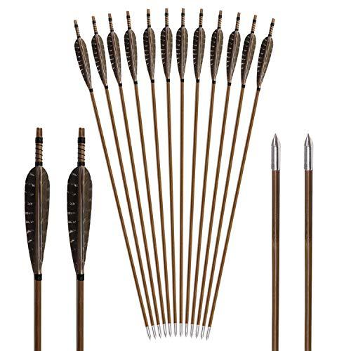 Flechas de bambú Flechas de bambú para Arco 12 Flechas para Tiro con Arco Flechas de bambú con Cabezas de Flecha Medievales y 5 Pulgadas de Plumas Naturales 31 en Mano