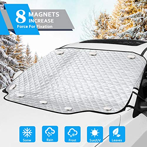OASMU Windshield Snow Cover, Car Windshield Snow Ice Cover with 8 Magnets Inside and 4 Layers Protection, Automotive Windshield Cover for Sun, Magnetic Waterproof Sunshade
