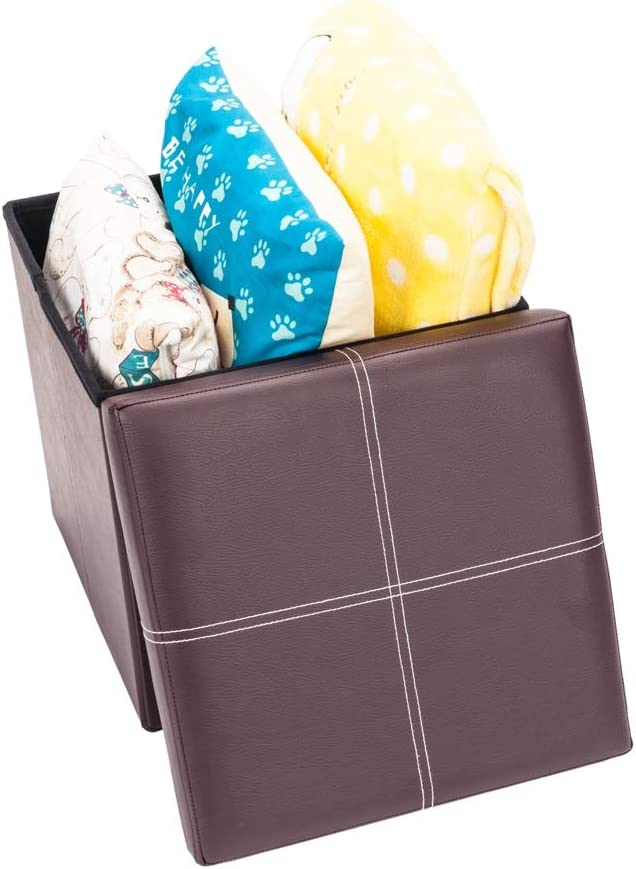 Firlar Brown Cheap super special price Faux Leather Folding Cube Storage Max 50% OFF Ottoman 15 inch
