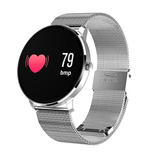 TPulling, smartwatch in pelle con cardiofrequenzimetro, rilevamento pressione sanguigna, impermeabile, in pelle, con Android iOS, argento