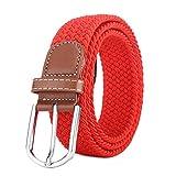 BOZEVON Cinturón elástico tejido - Multi-colores Cinturón de tejido elástico trenzado la tela de estiramiento para Hombres Mujeres rojo