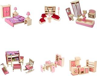 6 Sets Dollhouse Furniture Kids Wooden Toy Bathroom Kid Room Bedroom Kitchen Living Room Dinning Room