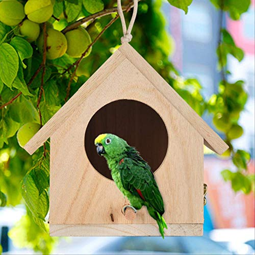 LDREYF Vogelkäfige Nester DOX Holzvogelhaus Hängenest Haus Vogelhaus Vogelkiste Holzkiste Vogelhäuschen Heimtierbedarf Zubehör 14x15x12cm B